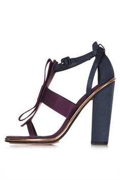 Must-Have: Pretty Party Heels - Raspberry, navy, and gold make for a stunning combination in these bow-bedecked heels. Bow Heels, Bow Sandals, Heeled Sandals, On Shoes, Me Too Shoes, Shoes Heels, Womens Summer Shoes, Satin Bows, High Heels