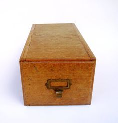 French Oak Library Card File Drawer Box by FrenchMarketFinds, €30.00
