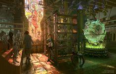 Artwork - Homunculus Store - was created by Aldo Katayanagi. Fantasy House, Fantasy Rpg, Fantasy World, Dark Fantasy, Fantasy Art Landscapes, Fantasy Landscape, Homunculus, Types Of Magic, Environment Concept