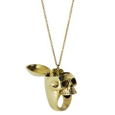 Skull Brass Ring with Brain Necklace 2pc Set | Monserat De Lucca