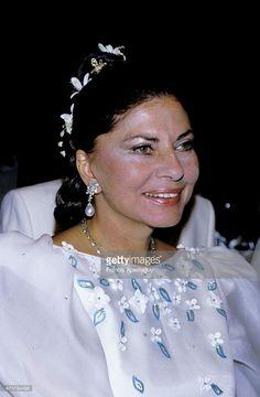Monaco 11 August 1984, Soraya, the Royal Princess of Iran, attends the Red Cross Ball in Monaco. She was divorced from the Shah of Iran in 1958., Soraya Esfandiari Bakhtiar (1932-2001). ,