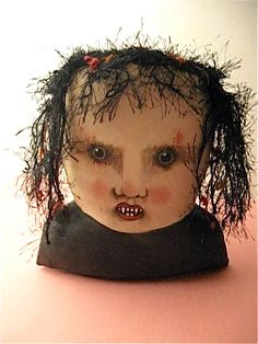 ooak art doll , creepy doll head  by sandy mastroni  ... original art , copyright protected by Sandy Mastroni