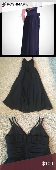 Alexia designs Black Sz 8 Jr. Bridesmaid Dress Alexia Designs junior bridesmaid dress, size 8, black Chiffon floor length dress with black pleated band side tie sash at waist, double lined. Worn once in a wedding, Excellent Condition!!! Alexia Designs Dresses Formal