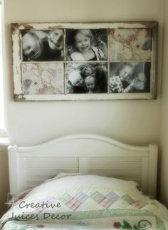 old window frame turned into picture frame-Frame is check, just looking for picture inspiration now