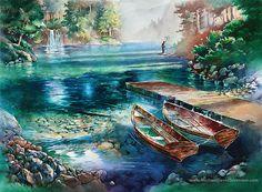 Watercolor Fishing Artwork. Fisherman. by MichaelDavidSorensen