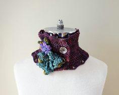 Floral scarf Purple Teal Green Collar scarf by ValerieBaberDesigns