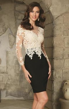 Sheer Net Illusion Bodice with Contrasting Lace Appliques Crepe Skirt Evening/Cocktail/Formal Dress/Mother of the Bride Dress Designed by Madeline Gardner. Be stunning in lace, in this two-tone Mori Lee VM 71240 dress. Elegant Dresses, Pretty Dresses, Women's Dresses, Beautiful Dresses, Short Dresses, Fashion Dresses, Formal Dresses, Wedding Dresses, Bride Dresses
