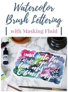 Create a stunning and unique brush lettering effect with watercolor masking fluid! This technique is easier than it looks and is gorgeous when finished! Brush Lettering Worksheet, Hand Lettering Practice, Hand Lettering Quotes, Types Of Lettering, Lettering Art, Typography, Lettering Ideas, Watercolor Masking Fluid, Watercolor Lettering