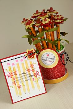 Teacher's Pencil Bouquet and Card Ensemble by Erin Lincoln for Papertrey Ink (April 2015)