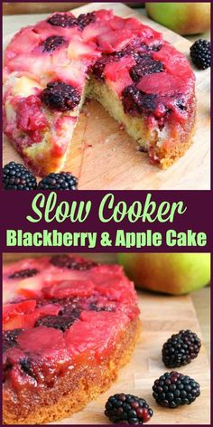 Slow Cooker Blackberry and Apple Cake - make this marvellous fall dessert in your slow cooker and enjoy the fruitful bounties of the season Quick Apple Dessert, Healthy Apple Desserts, Crock Pot Desserts, Slow Cooker Desserts, Apple Cake Recipes, Best Dessert Recipes, Fall Desserts, Gourmet Recipes, Baking Recipes
