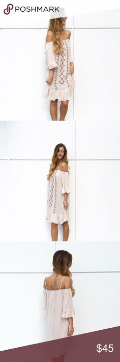 | new | blush embroidered dress offers welcome new with tag blush pink flowy dress with off the shoulder style, adjustable spaghetti straps, and embroidered pattern. modeling size small. •571076• Dresses Midi