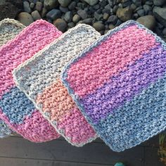 Woven Washcloth These Woven Washcloths are a great stash-buster; using just a handful of yarn, you can make a stack of these in no time at all! Materials • Yarn: Medium, Weight 4; Example made with...