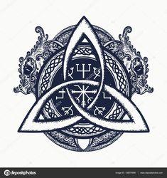 Драконы и Кельтский узел, Татуировки и футболку дизайн. Драконы — стоковая иллюстрация #138070980