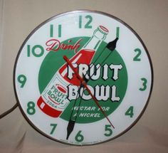 "Fruit Bowl Soda Antique Clock (Vintage 1940 Pop Beverage Advertising Clock, ""Nectar for a Nickel"", American Time Corp. Vintage Keys, Vintage Clocks, Vintage Signs, Vintage Antiques, Coffee Advertising, Vintage Advertising Signs, Vintage Advertisements, Coca Cola, Rock Around The Clock"