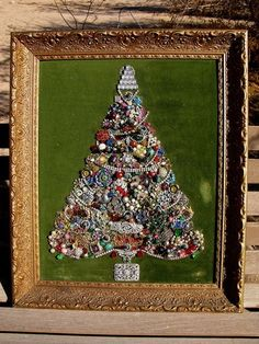 framed jewelry christmas tree directions | Vintage Framed Jewelry Christmas Tree on Velvet ... | Christmas Trees