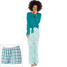 SONOMA life + style® Pajamas: 3-pc. Printed Flannel Pajama Gift Set - Women's