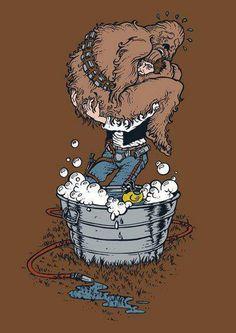 A Chewbacca no le gusta el agua.