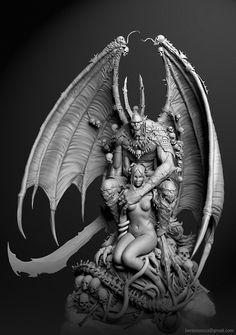 DrawCrowd is a place to fund your creativity. Dark Fantasy Art, Dark Art, Samael Angel, Wings Sketch, Sculpture Art, Sculptures, Gothic Gargoyles, Gargoyle Tattoo, Devil Aesthetic