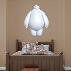 White Baymax REAL.BIG. Fathead – Peel & Stick Wall Graphic | Big Hero 6 Wall Decal | Disney Decor | Bedroom/Man Cave/Nursery