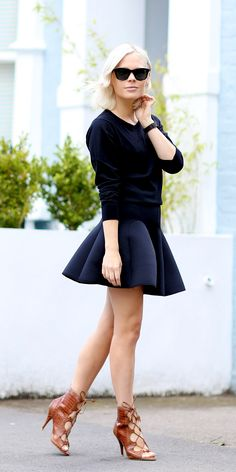 771a8e40 Comfy sweater, flared mini skirt and lace up heels — a cute transition look  into