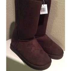 Brown Fur Boots Size 5 NEW NEW Brown Faux Fur Medium Height Boots US Size 5 Shoes