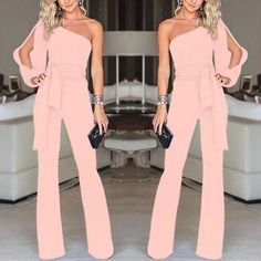 DaysCloth Pink Asymmetric Shoulder Cut Out Drawstring Waist Long Jumpsuit Prom Dresses Blue, Evening Dresses, Girls Dresses, Classy Outfits, Cute Outfits, Jumpsuit Dressy, Pink Jumpsuit, Look Fashion, Fashion Outfits