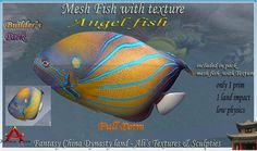 The glorious Angelfish. A renowned & loved aquatic masterpiece of gracefulness with it's large narrow body and graceful flowing fins. A land impact of just 1 brings you this amazingly realistic mesh replica of this queen of the water.. the Angelfish. The bright vivid colors characteristic is beautifully exampled in this mesh version. Please read and adhere to the terms of use which apply to all full permission Fantasy China products.