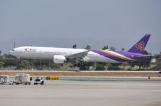 After a trip up to the Observation Deck at LAX for look around (I am not tall enough to get good photos over the protective glass) I came back down just in time to catch this THAI as she is about to touch down on San Jose Airport, Thai Airways, Kids Running, Commercial Aircraft, Comebacks, Cool Photos, Boeing Aircraft, Deck, June 22