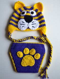 LSU Tigers Diaper Cover & Hat Set, Clemson Tigers, Auburn Tigers, Baby Girls and Boys Clothing and Shoes, Photo Prop