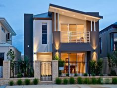 Photo of a wrought iron house exterior from real Australian home - House Facade… Double Storey House, 2 Storey House Design, Small House Design, Modern House Design, Facade Design, Exterior Design, Facade House, House Facades, Australian Homes