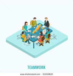 Isometric 3D Meeting and teamwork concept, vector illustration