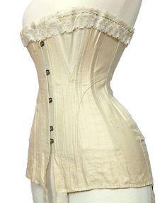 Antique Longline Underbust Corset, Cotton Coutil, Lace, Lovely Buckles c. 1910