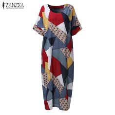 c488d79abed74 2017 ZANZEA Women Vintage V Neck Short Sleeve Floral Print Summer Loose  Casual Midi Kaftan Dress Baggy Party Vestido Plus Size