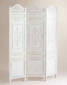 Victorian White Room Divider Screen Shabby Chic 3 Panel French Country Free SHIP | eBay