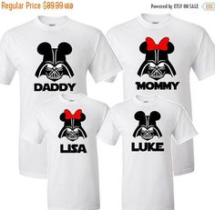 Mickey and Minnie Darth Vader Family Set Star Wars Weekend at Disney  Done on a white shirt with black vinyl  *Price is for 4 shirts mix/match
