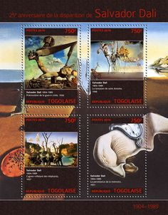 "TG 14301 a Salvador Dali (""Premonition of Civil War"" ""The Temptation of St. Anthony"" Swans Reflecting the Elephants"" The Persistence of Memories"" Salvador Dali, Stamps, War, Memories, Elephants, Painters, Movie Posters, Modern, Seals"