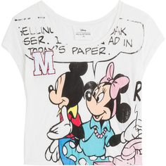 Paul & Joe Sister Mickey Mouse Printed Jersey T-Shirt (83 AUD) ❤ liked on Polyvore featuring tops, t-shirts, shirts, tees, white, cartoon t shirts, jersey shirts, scoop neck t shirt, slim fit white shirt and relax t shirt