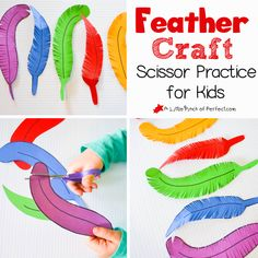 Paper Feather Craft and Scissor Practice for Kids | A Little Pinch of Perfect