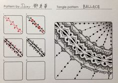 Ballace. Tangle Pattern and Example by Damy, CZT.
