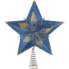 Kurt Adler 13.5-in. Glitter Star Christmas Tree Topper ($51) ❤ liked on Polyvore featuring home, home decor, holiday decorations, blue, kurt adler, peacock home decor, blue star tree topper, peacock tree topper and peacock christmas tree topper