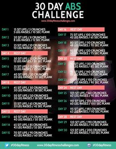30 day abs challenge...just need to increase plank time...so i'll be doing a 3min plank by the end of the 30days!