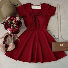 Vestido Manguinha Cláudia PIQUET C/ BOJO Costas Fechada( COR VINHO) - Melrose Brasil
