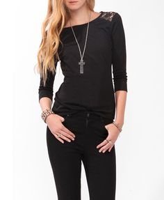 Lace Panel 3/4 Sleeve Top | FOREVER 21 - 2027705330