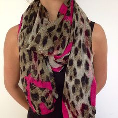 Pink and Leopard Print Scarf