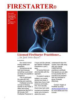 Firestarter Brochure Page 1.  NLP Practitioner course