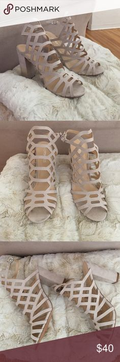 Nude/Blush Cut Out Detail Chunky Heels Bought them too big 😕. Brand New, super cute and trendy! I am looking for the same ones but in black and size 8.5! Shoes Heels