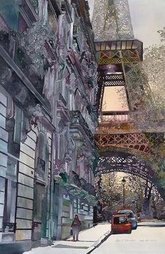 John Salminen - watercolor cityscape - architectural painting.