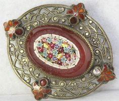 Antique Brooch-Micro Mosaic set in Carnelian w/enameling