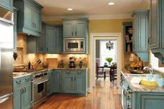 Kitchen cabinets in Duck Egg Blue Annie Sloan Chalk Paint