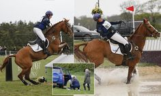 The mother-of-one, 35, fell off her horse Fernhill FaceTime after negotiating a tricky water jump and receive medical attention at Burnham Market International Horse Trials.